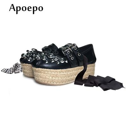 Apopeo Fashion Lace-up Ballet Flats Butterfly-knot Flat Platform shoes for woman Rivets studded rope braided flat causal shoes