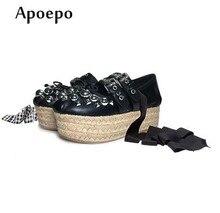 19cbdd8a7 Apopeo Moda Lace-up Flats Ballet Borboleta-nó sapatos de Plataforma Plana  para a mulher Rebites studded corda trançada plana sap.