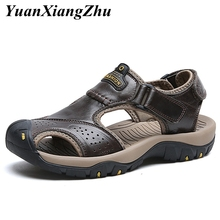 summer men shoes leather sandals fashion outdoor for genuine beach sandale homme big size 38-47