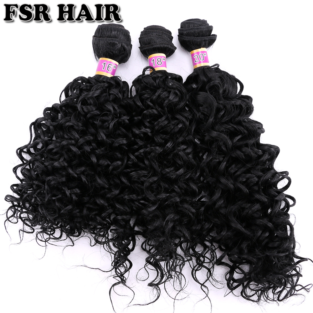 FSRHAIR Black Curly Hair Extensions Brown Water Wave Bundles Synthetic Hair Weave 16