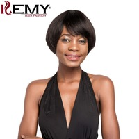 Short Human Hair Wigs With Bang Natural Black Brown Daily Full Brazilian Straight Hair Wigs Non Remy Hair For Women KEMY HAIR