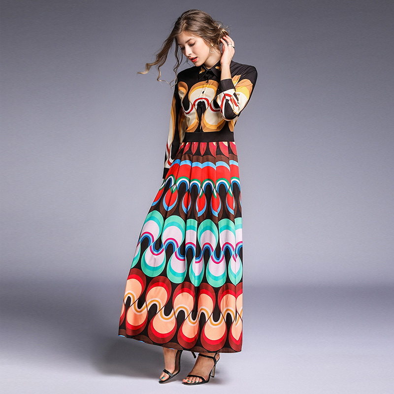 Fashion Designer Runway Women Maxi Dresses 2019 Summer Geometry Flower Bee Elegant Print Turn Down Collar Long Pleated Dress Dresses Aliexpress