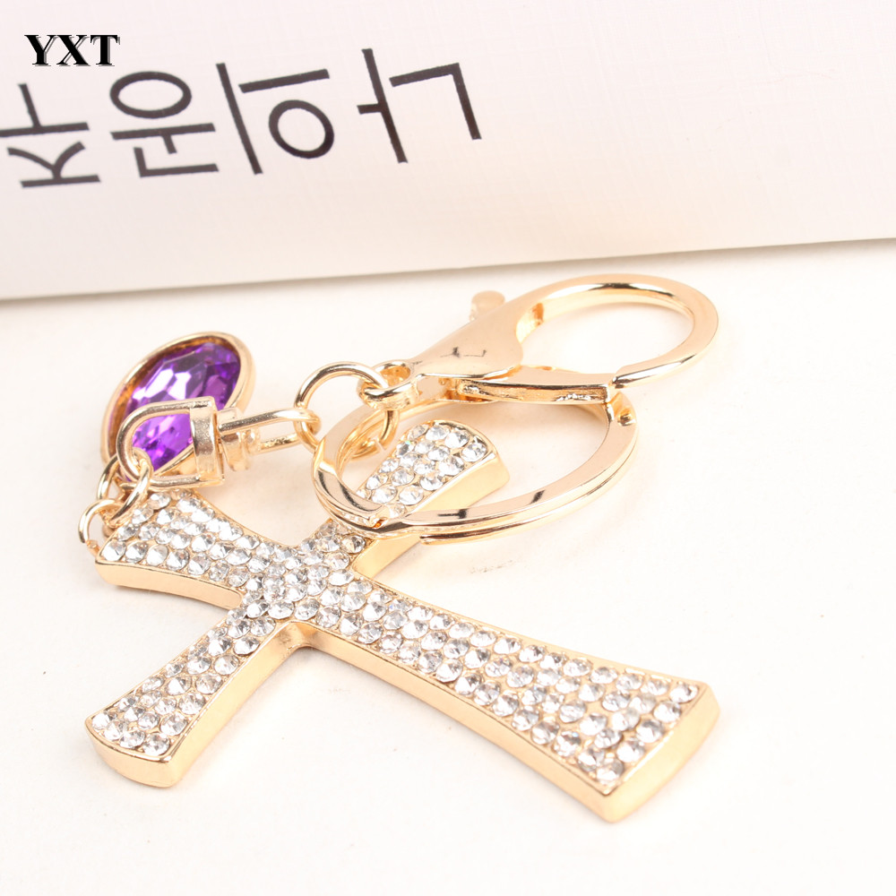 Cross Ten Word Lovely Fashion Cute Rhinestone Charm Pendant Crystal Purse Bag Key chain Gift Nice&Substantial High Quality