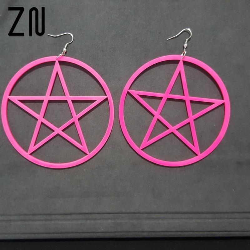 ZN 9CM Punk Large Pentagram Earrings Large Hoop Pentacle Gothic Ear Stud Fashion ...