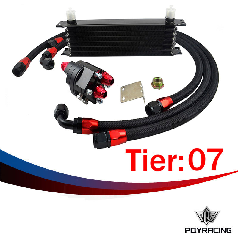 ФОТО PQY RACING- Universal 7 Row 10AN Aluminum Engine Transmission Oil Cooler Relocation Kit
