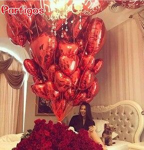 Image 3 - 50 pçs 18 polegada rosa ouro vermelho rosa folha de amor coração balões de hélio festa de aniversário casamento balões dia dos namorados globos suprimentos