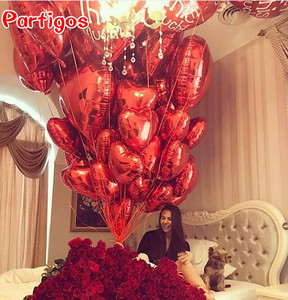 Image 3 - 50pcs 18inch Rose Gold Red Pink Love Foil Heart Helium Balloons Wedding Birthday Party Balloons Valentines Day Globos Supplies