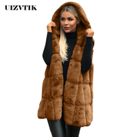 Loose Winter Faux Fur Coat Women 2019 Casual Hoodies Sleeveless Faux Fox Fur Vest Autumn Jacket Female Coat casaco feminino 2XL