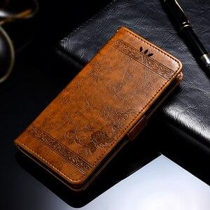 Image 1 - Voor BQ 5058 Case Vintage Bloem PU Lederen Portemonnee Flip Cover Coque Case Voor BQ 5058 Strike Power Gemakkelijk SE telefoon Case Fundas
