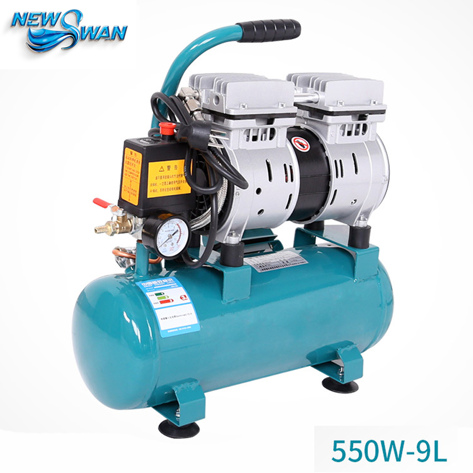 Oil Free Air Compressor High Pressure Gas Pump Spray Woodworking Air Compressor Small Pump 550W9L oil free air compressor high pressure gas pump spray woodworking air compressor small pump 800 30l