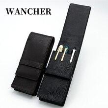 Kalem çantası kalem depolama kalem çantası Wancher hakiki deri dolma kalem durumda inek derisi 3 kalemlik kılıfı kol