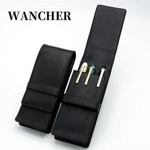 Image 1 - Pen Bag Pen Storage Pencil Bag Wancher Genuine Leather Fountain Pen Case Cowhide 3 Pen Holder Pouch Sleeve
