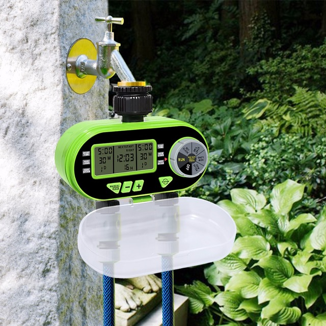 New Arrival Two Outlet Garden Digital Electronic Water Timer Solenoid Valve Garden Irrigation Controller for Garden,Yard#21060