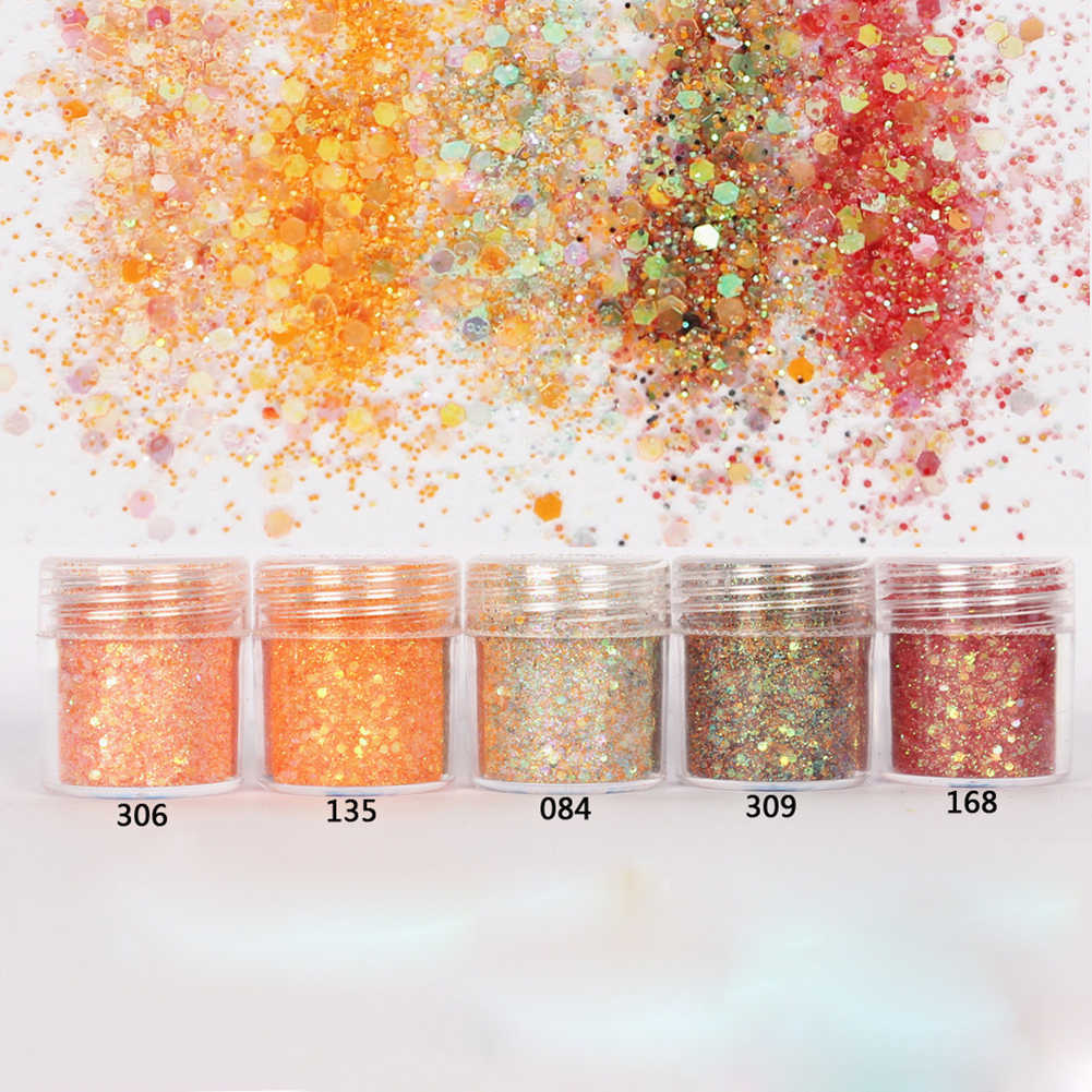 5 Boxes 3D Nail Art Glitter Powder Sequins Powder Dust for Nail Art Decor Metallic Color Nail Art UV Gel Polishing Chrome Flakes