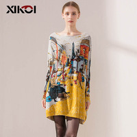 XIKOI Autumn Fashion Women S Clothing Long Sweaters Slash Neck Batwing Sleeve Loose Knitted Sweater Ladies