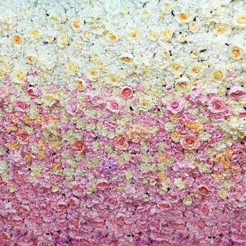 5.4M x 2.4M Wedding Flower Wall gradual change hot pink flower backdrop wedding stage decoration by Fedex