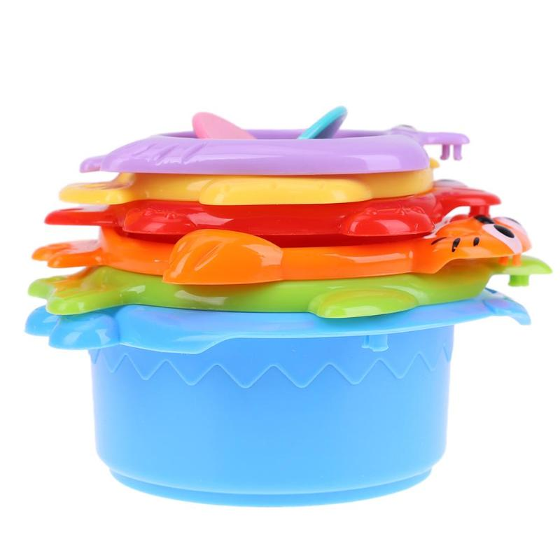 Kids Funny Piles Cup Baby Bath Toy Stacking Pile Up Tower Count Cups Count Number Plastic ABS Letter Toy for Children
