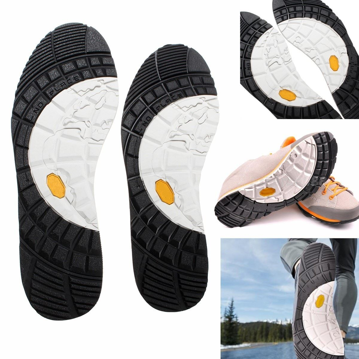 1Pair Rubber Stick On Soles, Slitstarkt Anti-Slip Lim på Full Insoles Sko Reparation Utbyte DIY, Mats Skridsskydd