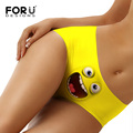 FORUDESIGNS 2017 New Fashion Kawaii 3D Smile Face Printing Panties for Ladies Comfortable Seamless Panties Women Sexy Underwear