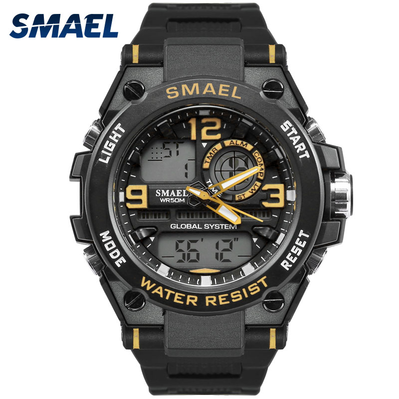 New Fashion Casual Male Watch SMAEL Brand Gray Color Dual display LED 50M Waterproof Dive Men Silicone Sport Watch Relogio 1603 smael 1708b