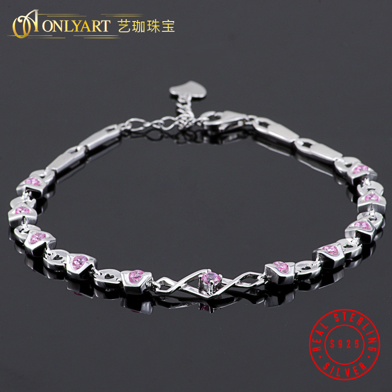 OnlyArt free shipping pink stone silver jewelry 100% silver bracelets women chain bracelet silver 925 with heart tag