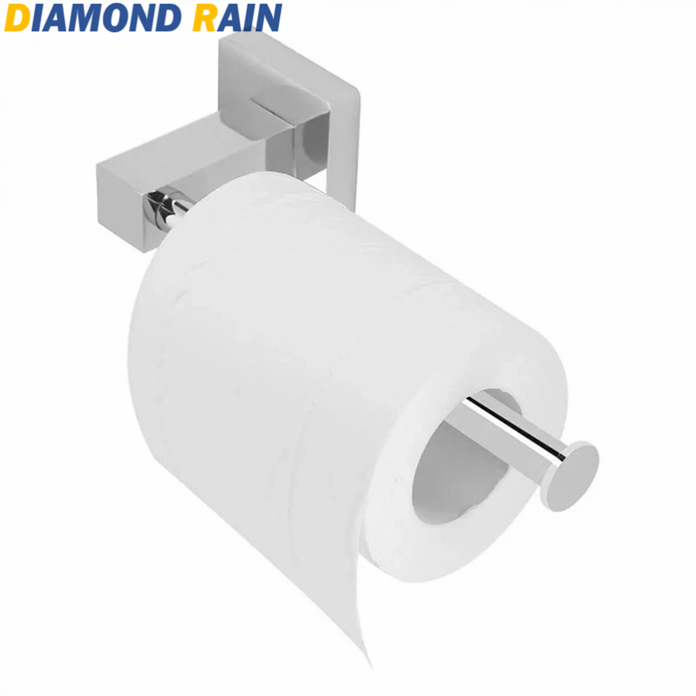 Bathroom Hardware Square Chrome Toilet Paper Holder Contemporary Stainless Steel Tissue Roller Holder Silver Bathroom Wall Mounted Dr110 Soft And Light