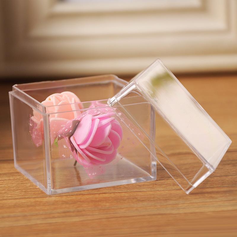 Wedding Gift Boxes: 60 X Square Wedding Favor Candy Box Clear Plastic Gift