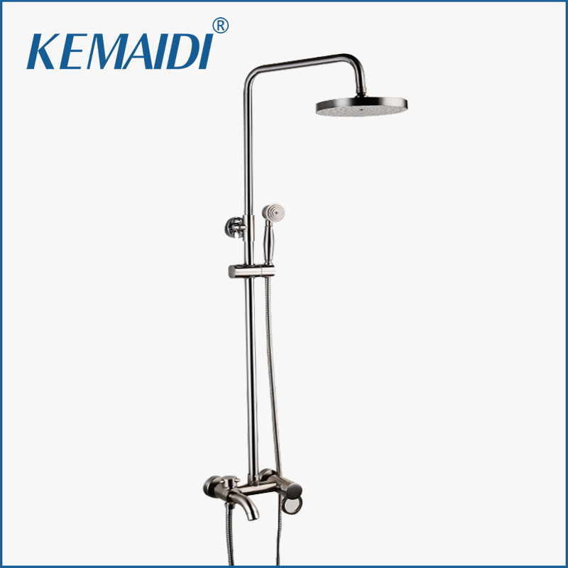 KEMAIDI New Modern Wall Mount Shower Faucet Mixer Tap With Rain Shower Head & Handheld Spray Nickel Brushed Bathroom Shower Set hot sale wholesale and retail promotion new modern brushed nickel 12 rain shower head ultrathin shower head replacement