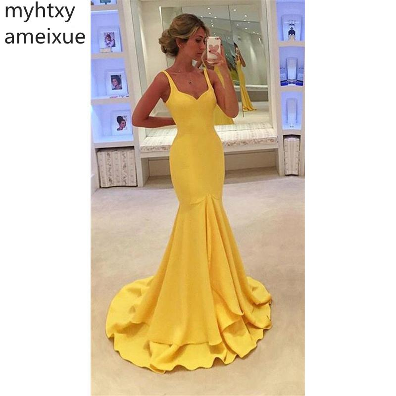2019 New Sexy Cheap Yellow Evening Dresses Mermaiddesign Ruffles Prom Gowns Floor Length Plus Size Party Wear Robe De Soiree