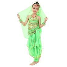 2018 New Style Child Belly Dance Costumes Kids Dancing Girls Bollywood Indian Performance Cloth Dress 3pcs/set