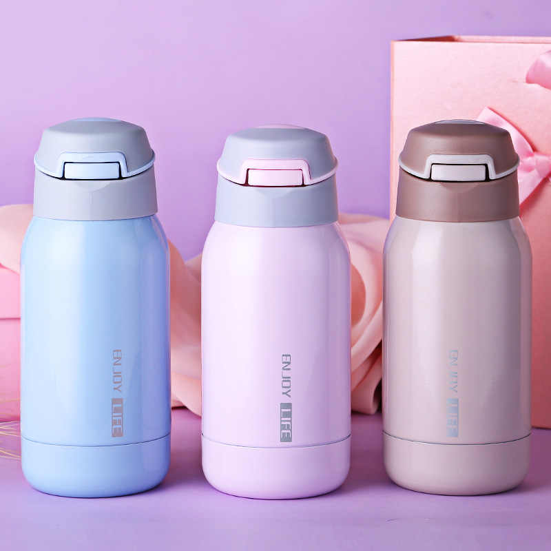 Mini 260ml Stainless Steel thermos flask for kids one touch vacuum bottle  Vacuum Flasks Thermos Straw Sport thermos bottle