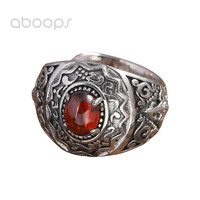 Vintage 990 Sterling Silver Red Stone Ring for Men Women Adjustable Free Shipping