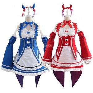 Image 3 - Ram/Rem Cosplay Re:zero Kara Hajimeru Isekai Seikatsu black blue red Costume Maid Servant Dress