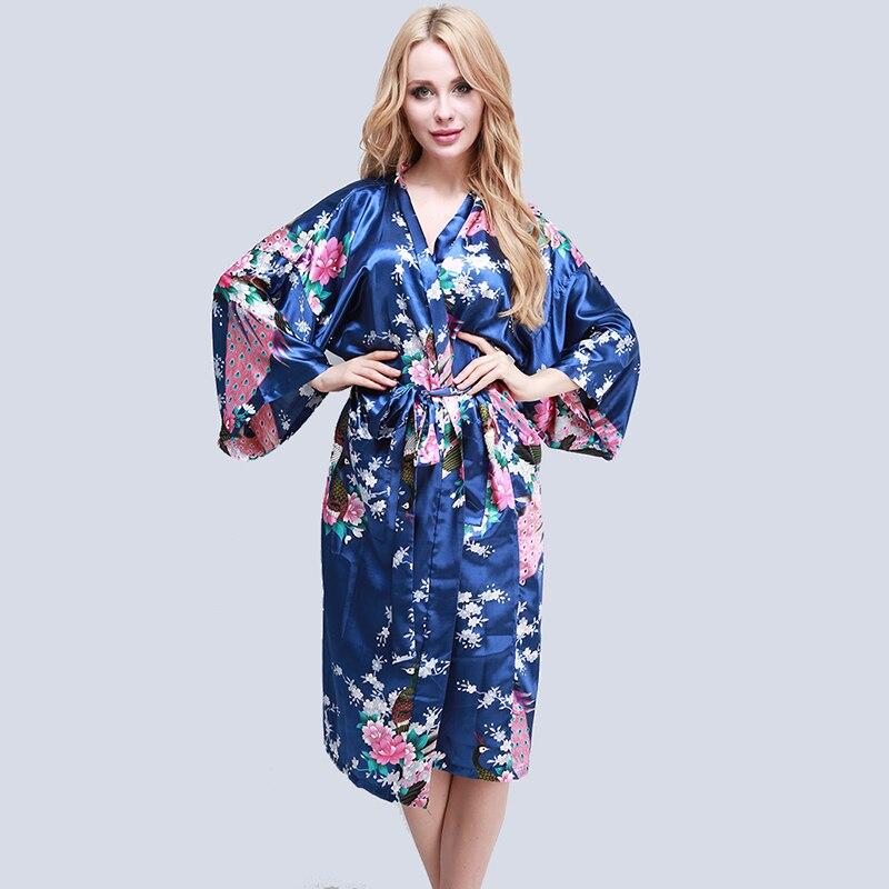 Bigsweety Floral Peacock Printed Bathrobe Kimono Robe