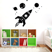 Vinyl Movable Wall Decal Sticker Bedroom Kids Rocket Stars Moon Planets Game Space mural home decoration accessories