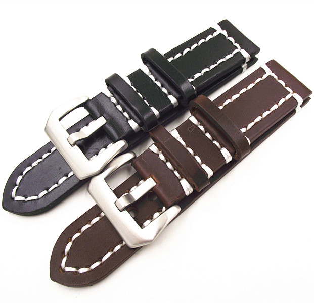 1PCS High quality 18MM 20MM 22MM 24MM genuine cow leather handmade Watch band black brown watch strap - GL0147 eache 20mm 22mm 24mm 26mm genuine leather watch band crazy horse leather strap for p watch hand made with black buckles