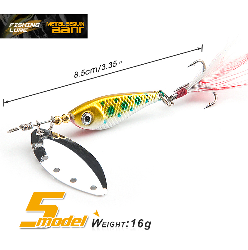 16g spinner Spoon Metal Bait Fishin Lure Sequins Crankbait Spoon baits for Bass Trout Perch pike rotating Fishing
