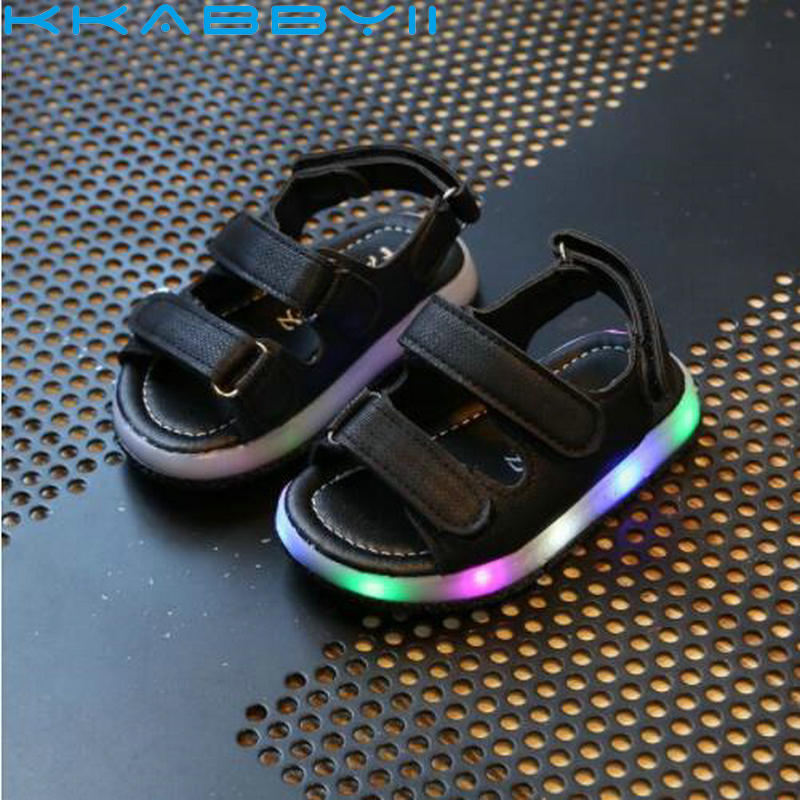 New Summer Kids Led Glowing Sandals Boys Girls Sport Casual Light Shoes Children Baby Flat Shoes Kids Beach Leather Sandals(China)