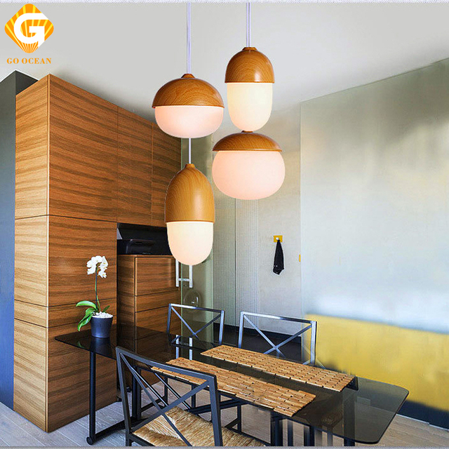 GO OCEAN Pendant Lights LED Loft Lamp Wood Art Deco Fixtures Living Room  Lamps Indoor Lighting