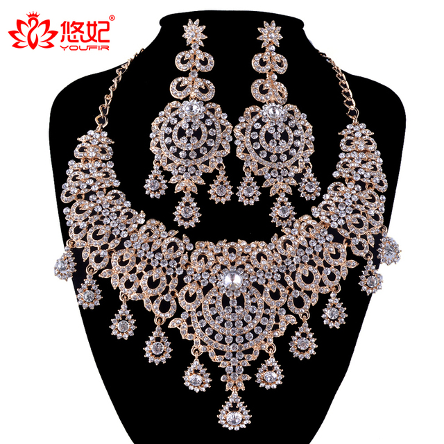 golden plated Jewelry Sets Bridal necklace earrings Women Wedding Party Statement necklace Russian fashion style Earrings set