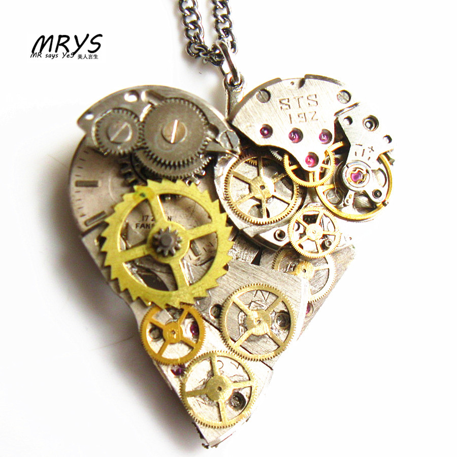 steampunk gothic mechanical watch parts movements gears heart pendant necklace collar choker charm men women vintage