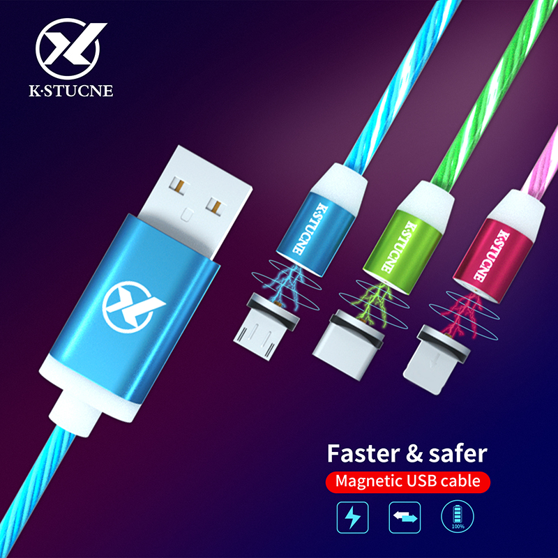 Magnetic Micro USB Cable LED Luminous Charging For Android Samsung Huawei Xiaomi Mobile Phone Cables 2A