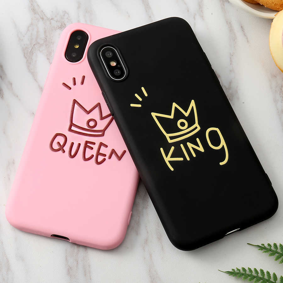 Lovely 3D Silicone Crown Pink Black Soft Case For iPhone X XS Max XR 6 6S 5 5S SE 8 7 Plus Cover Coque Fundas