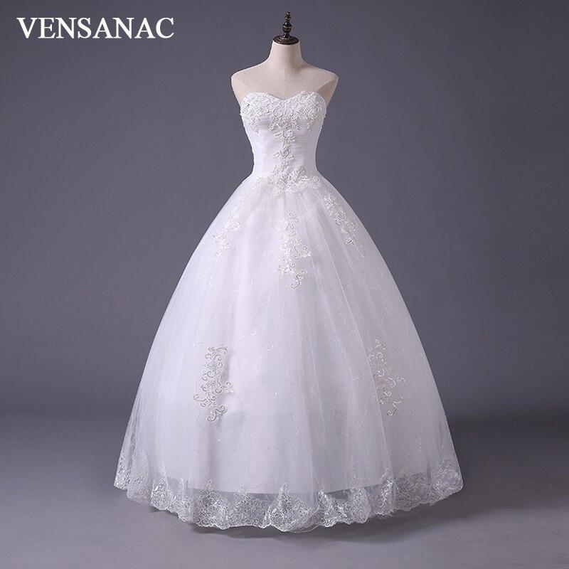 VENSANAC 2017 Penghantaran Percuma Baru A Line Crystal Sweetheart tanpa lengan Satin Putih Pengantin Wedding Dress Gaun Perkahwinan 30202