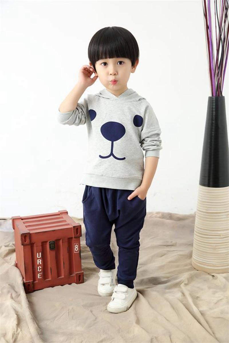80-115cm Cute Bear Kids Boy Girl Clothing Set Children Clothes Set Casual Cartoon Hooded Sweatshirt Boys Fashion Hoodies (10)