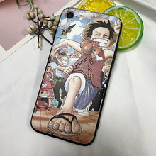 ciciber For iPhone 7 8 6 Plus X XR XS Max Capa Luffy Japanese Anime One Piece 3D Relief Silicone Hard PC Hybrid Phone Case Cover