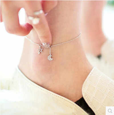 100% 925 sterling silver high quality shiny crystal star & moon ladies`anklets jewelry gift drop shipping women anklet girl