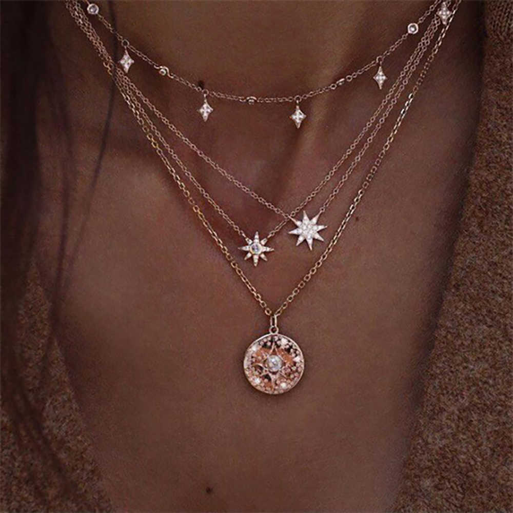 HTB1aA4oTOLaK1RjSZFxq6ymPFXap - New multi-layer crystal Moon necklaces and pendants for women Vintage charm gold choker necklace, wholesale jewelry