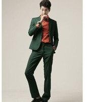(Kurtka + Spodnie + Krawat) Mężczyźni Zielony Biznesu Smoking Garnitur Zestawy Slim Fit One Button garnitury Ślubne Ubrania na Uroczystości garnitury Bawełniane F1811 Masculino