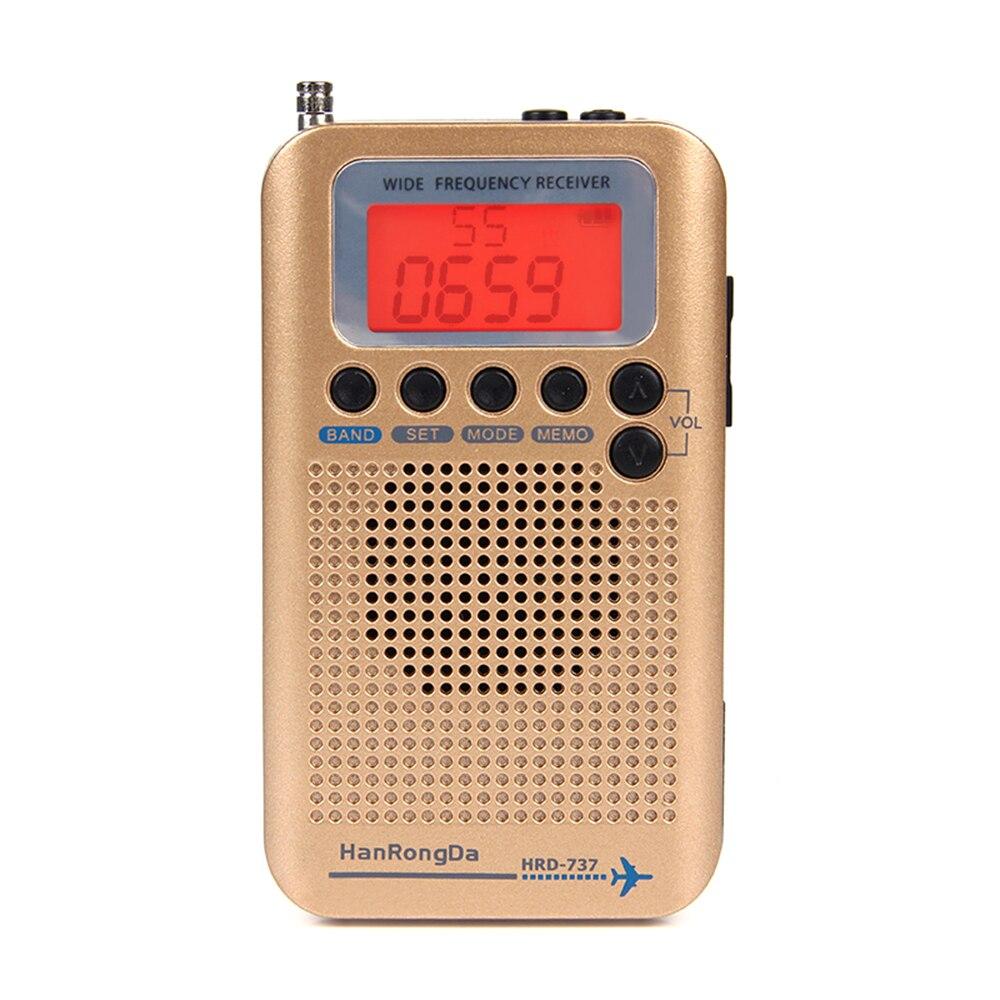 HanRongDa HRD 737 récepteur de bande Radio Portable à bande complète FM/AM/SW/CB/Air/VHF avec réveil à écran LCD-in Radio from Electronique    1
